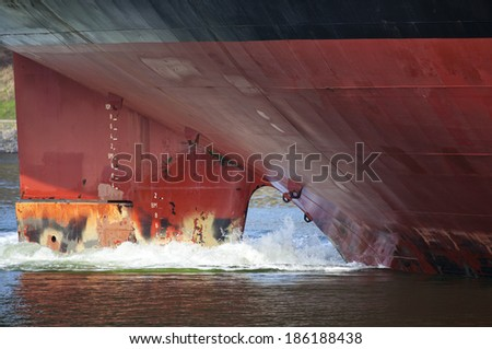 Stern of a tanker ship - stock photo