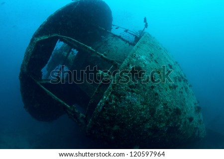 Stern of the shipwreck SS Thistlegorm, Red Sea, Egypt.