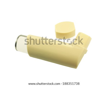 Steroid inhaler for prevention; using in Asthma patient on white background. - stock photo