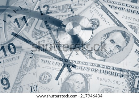 Stethoscope, American banknotes, clock and calendar - stock photo
