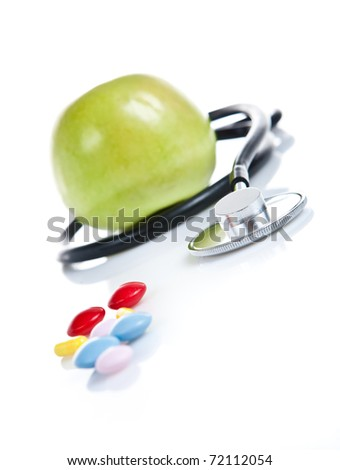 Stethoscope and Apple isolated