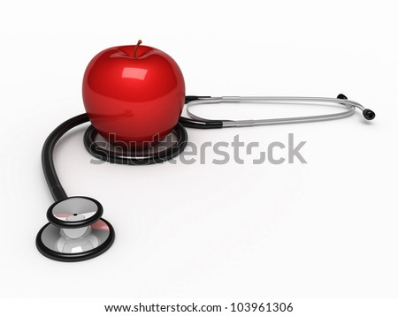 Stethoscope and apple render (isolated on white and clipping path)