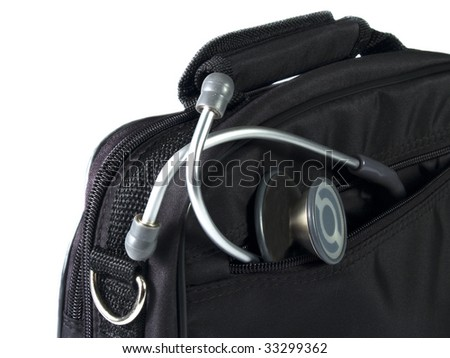 Stethoscope and black bag with white background