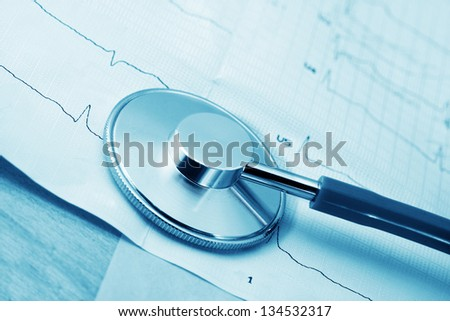 Stethoscope and cardiogram close-up in blue