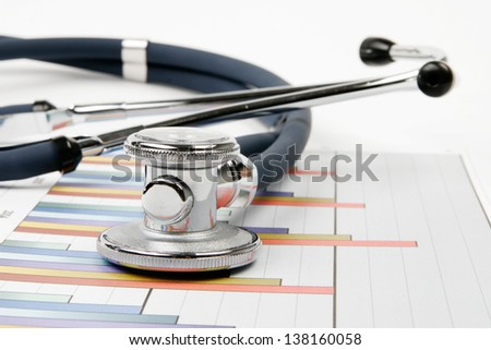Stethoscope and chart - research of balance