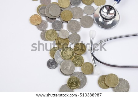 Stethoscope and coins background as a symbol of health care costs is expensive. Prevention better than cure