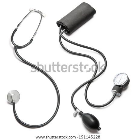 Stethoscope and cotton cuff blood pressure sphygmomanometer - stock photo