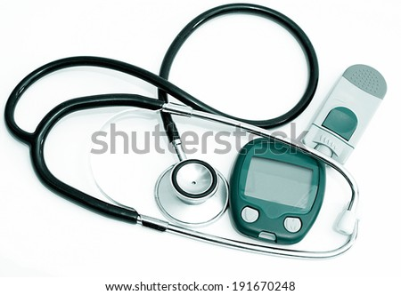 Stethoscope and device for measuring blood sugar level and isolated on white background       - stock photo