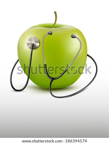 Stethoscope and green apple. Medical background. Raster version - stock photo
