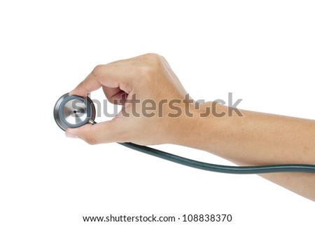 stethoscope and hand