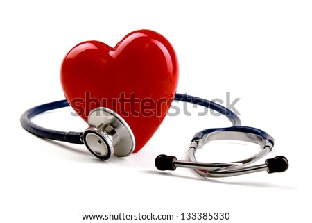 Stethoscope and heart, isolated on white background - stock photo