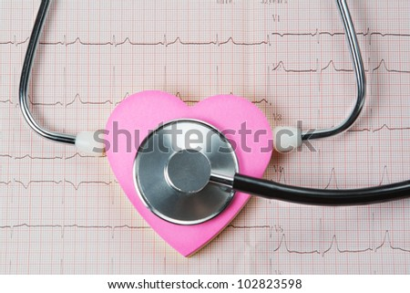Stethoscope and heart on a background of cardiogram. - stock photo