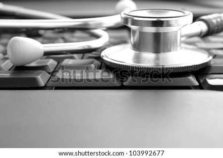 stethoscope and keyboard, as well as a place for your text