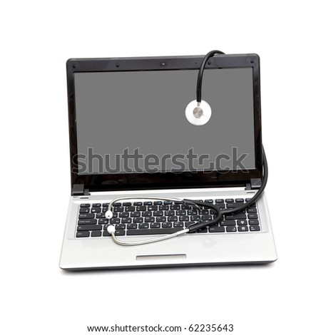 Stethoscope and laptop computer - stock photo