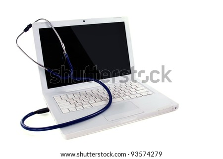 Stethoscope and laptop computer , isolated on white background - stock photo