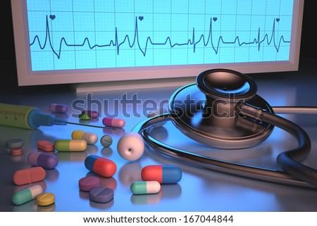 Stethoscope and medicines illuminated by cardiac monitor. Clipping path included.