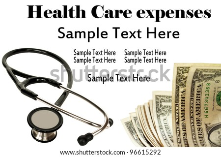 Stethoscope and money - Health Care concept - stock photo