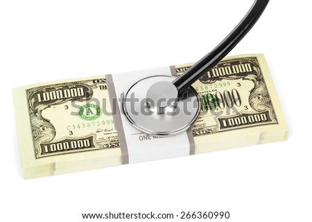 Stethoscope and money isolated on white background