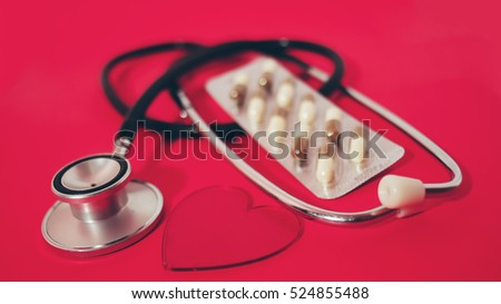 stethoscope and pills-medicine concept