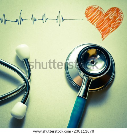 stethoscope and pulse drawing (medical concept) - stock photo