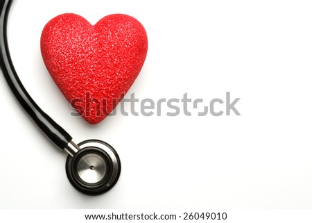 Stethoscope and red heart, health - stock photo