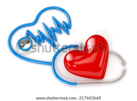 stethoscope and red heart isolated on white background. 3d illustration. medical concept - stock photo