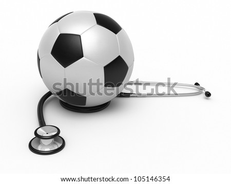 Stethoscope and soccer ball render (isolated on white and clipping path) - stock photo