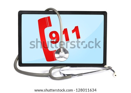 stethoscope and  touch pad with 911 symbol