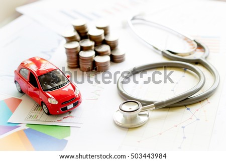 stethoscope car graph and coin