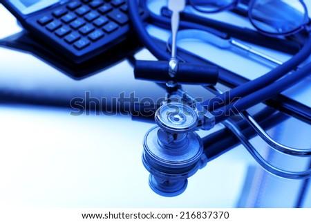 Stethoscope close up - stock photo