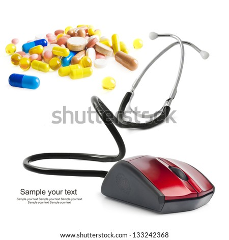 stethoscope computer mouse medical online concept - stock photo