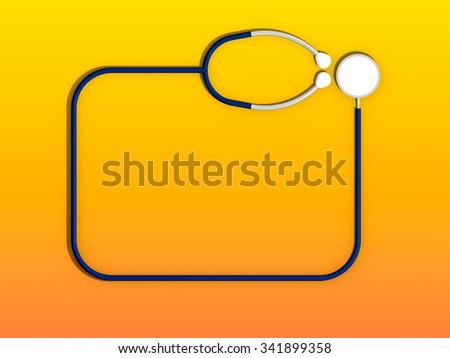 Stethoscope 3d in yellow orange background - stock photo
