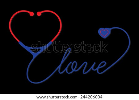 stethoscope heart with love - stock photo