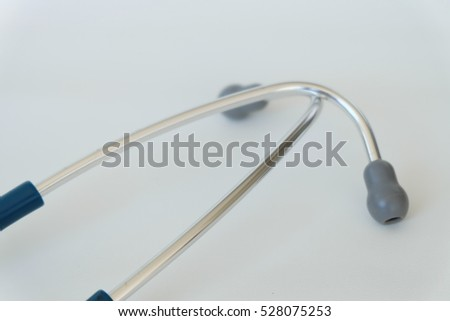 Stethoscope in doctor workspace.