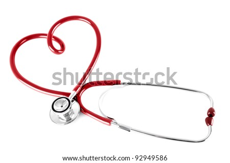 stethoscope in shape of heart, isolated on white