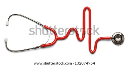 Stethoscope in the shape of a Heart Beat on a EKG. - stock photo