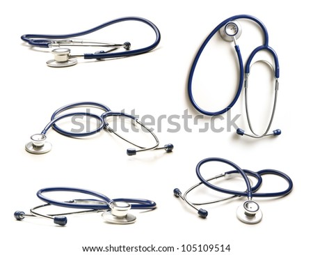 Stethoscope isolated on white - stock photo