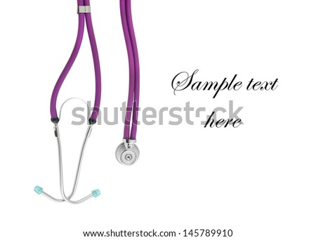 Stethoscope isolated on white with room for text