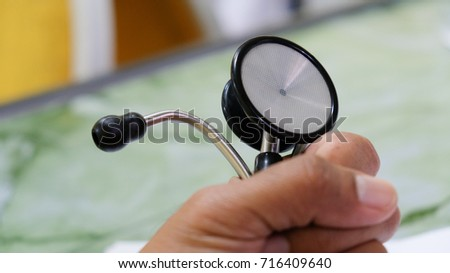 Stethoscope isolated with blurry background.