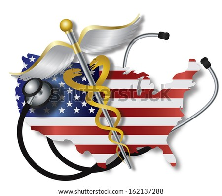 Stethoscope Listening to USA Flag Country Map Heartbeat with Rod of Caduceus Medical Symbol on White Background Raster Illustration - stock photo