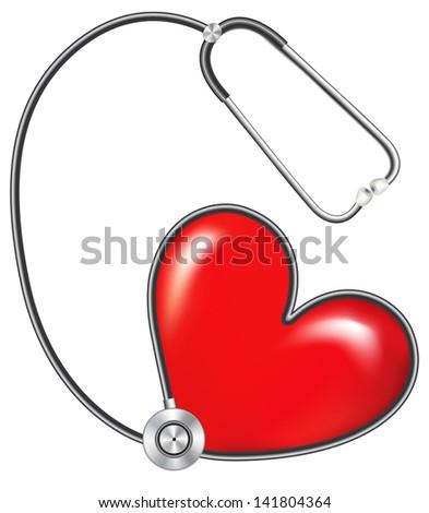 stethoscope measuring heartbeat.Rasterized illustration. Vector version in my portfolio - stock photo