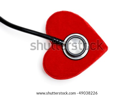 stethoscope on a plush red heart box
