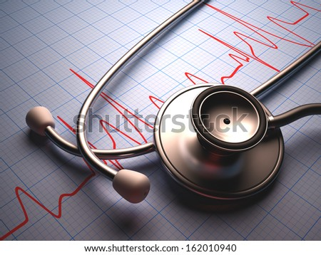 Stethoscope on a table with a heart graphic. Clipping path included. - stock photo