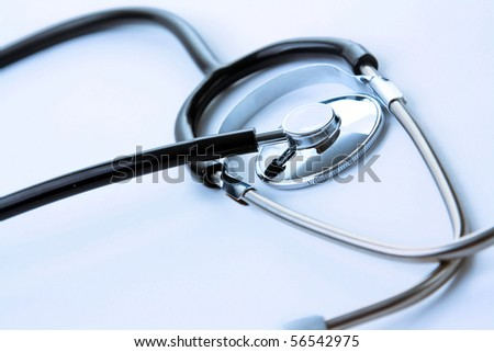 stethoscope on a white background - stock photo