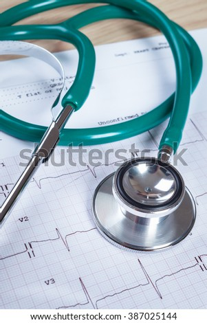 Stethoscope on an electrocardiogram (ECG) chart background