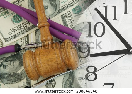 Stethoscope on dollar banknotes and clock, cost of healthcare concept  - stock photo