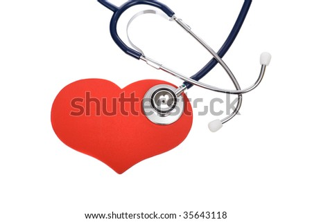 stethoscope on heart pattern isolated on white