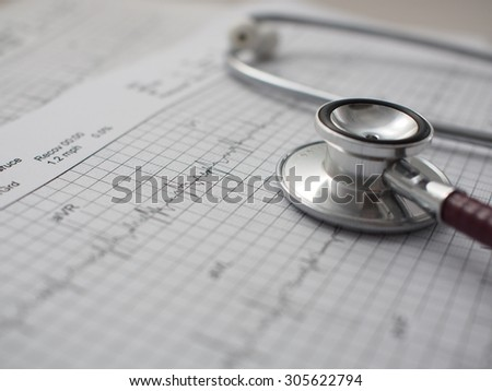 stethoscope on medical background - stock photo