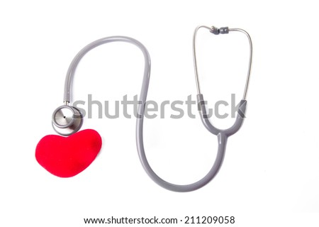 Stethoscope on white background with red heart