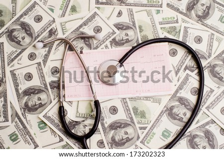 stethoscope over ecg graph on a background of 100 dollar bills